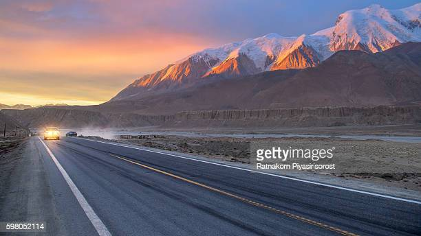 Sunset Scene of Landscape of Karakoram Highway
