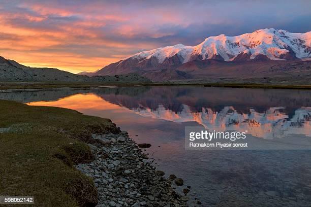 sunset scene of landscape of karakoram highway - k2 mountain stock pictures, royalty-free photos & images
