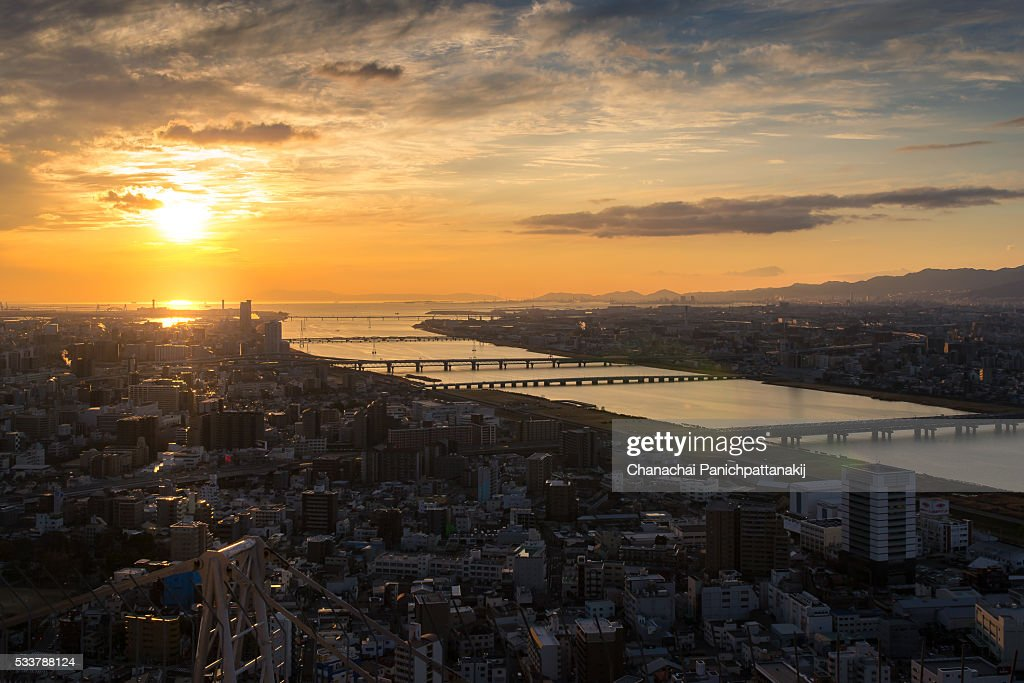 Sunset scene of Osaka city with Yodo river, Japan : Foto stock