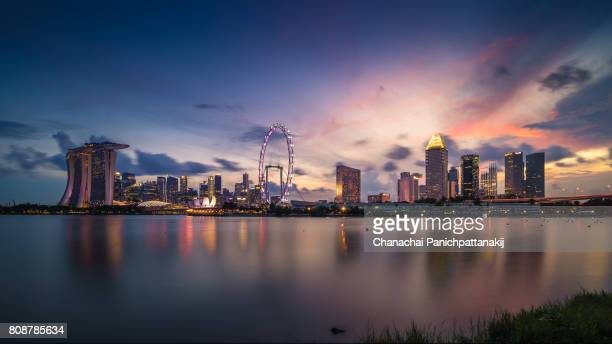 Sunset scene of Singapore city skyline