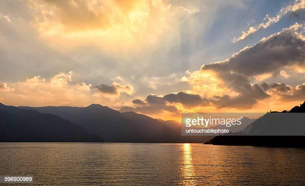 Sunset scene on the lake Chuzenji, Nikko, Japan