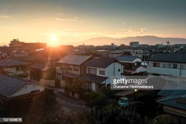 Sunset scene over Saga City, Japan