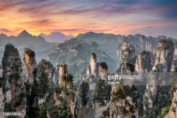 sunset scenery of zhangjiajie, hunan, china - hunan province stock pictures, royalty-free photos & images