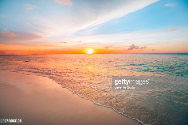 sunset sea landscape. colorful ocean beach sunrise. beautiful beach scenery with calm waves and soft sandy beach. empty tropical landscape, horizon with scenic coast view. colorful nature sea sky - pôr do sol - fotografias e filmes do acervo