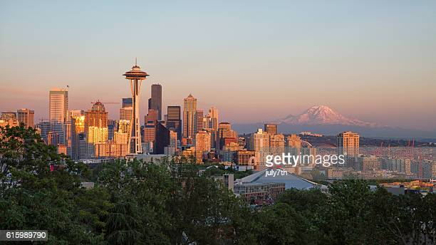 sunset seattle - washington state stock pictures, royalty-free photos & images