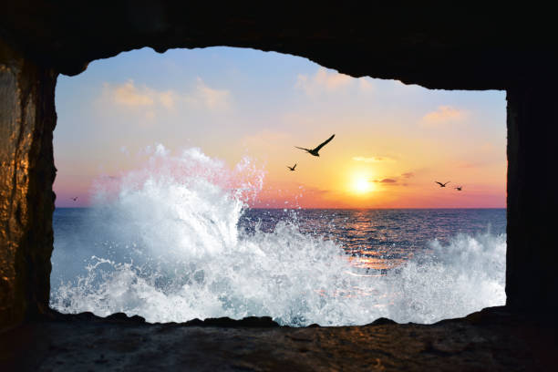 Sunset seen from cave entrance, Yafo, Israel