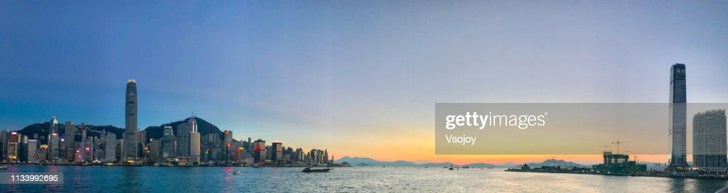 Sunset set and The Victoria Harbour Hong Kong I : Stock Photo