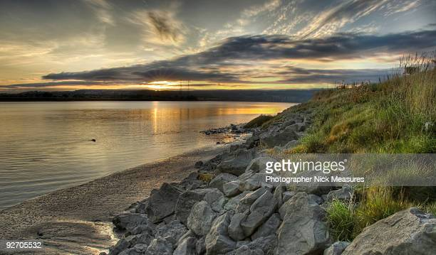 sunset severn. - gloucestershire stock pictures, royalty-free photos & images