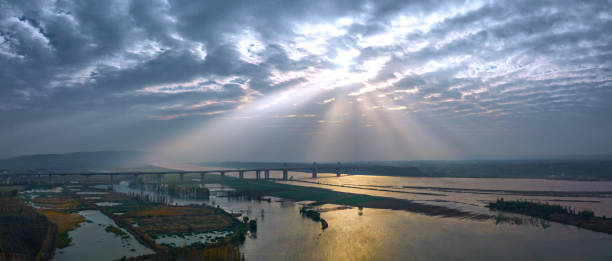 Sunset shining on the henan sanmenxia spi old town village, the ancient ferry