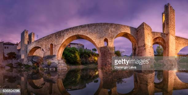 Sunset shot Besalú Roman bridge (Catalunya).