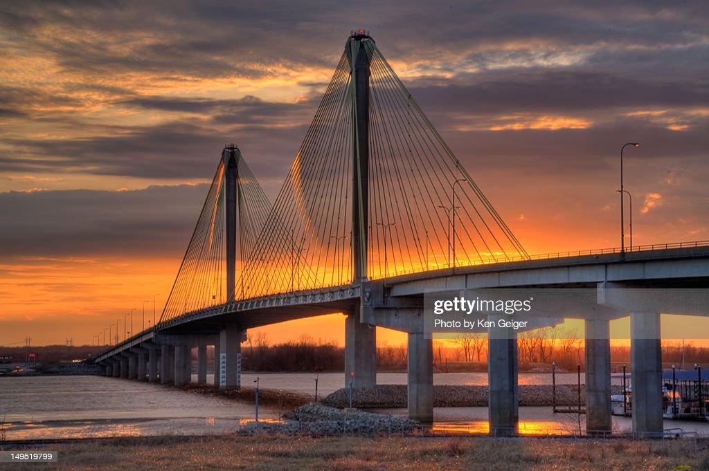 Sunset shot of Cooks birdge over Mississippi : Stock Photo