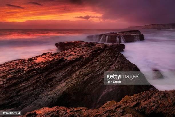 sunset sky at panther beach, santa cruz - don smith stock pictures, royalty-free photos & images