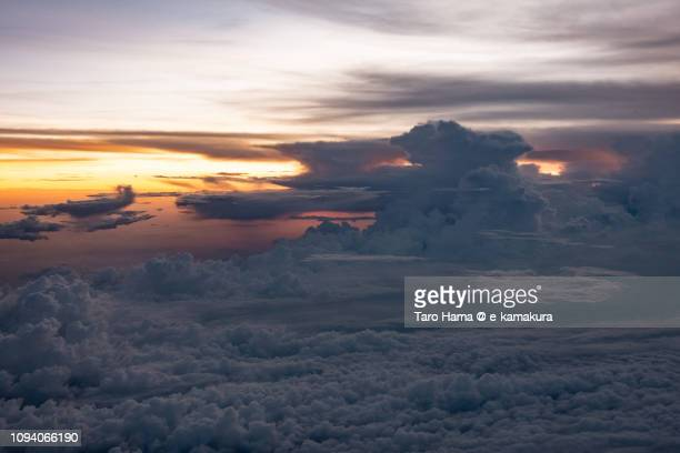 Sunset sky on South Sumatra in Indonesia aerial view from airplane