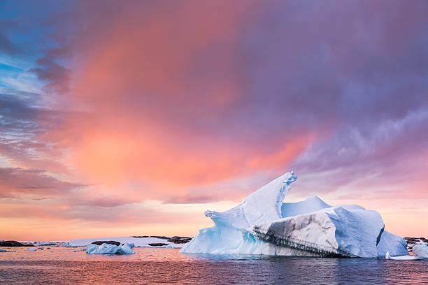 Sunset sky over floating iceberg