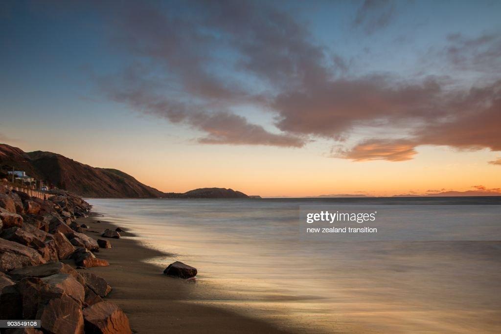 Stunning Sunset Over Beach Long Exposure Landscape Stock