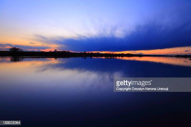 Sunset sky reflection in river