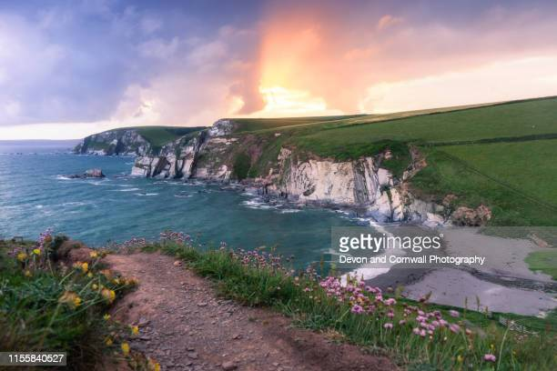 sunset south devon - devon stock pictures, royalty-free photos & images