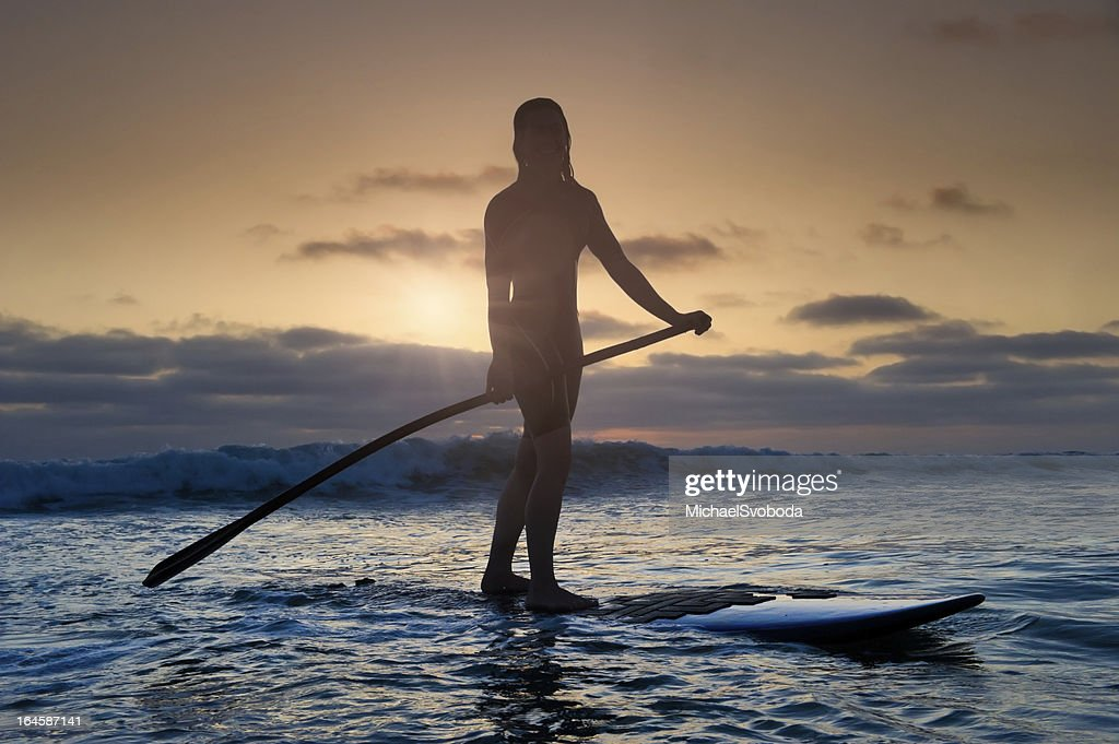 Sunset Stand-Up Paddle Boarding : Stock Photo