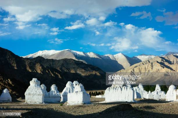sunset stupas close to leh himalayas - stupa stock pictures, royalty-free photos & images
