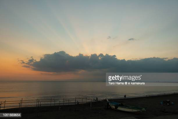 Sunset sunbeam on clouds on Sagami Bay and Mount Hakone in Japan