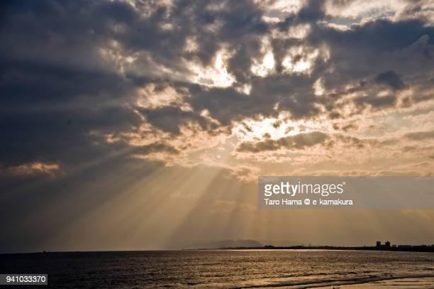 Sunset sunbeam on Hiratsuka city, Eboshi Rock Island in Chigasaki Beach and Sagami Bay, Northern Pacific Ocean in Kanagawa prefecture in Japan