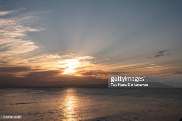 Sunset sunbeam on Izu Peninsula and Pacific Ocean in Japan