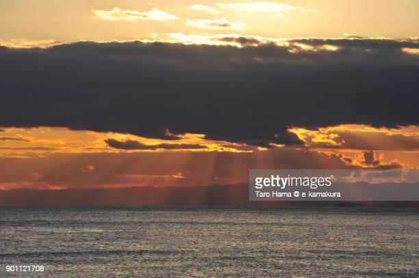 Sunset sunbeam on Izu Peninsula and Sagami Bay in Kanagawa prefecture in Japan