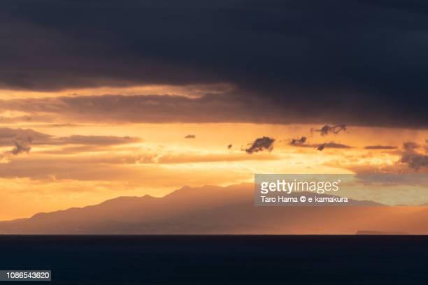 Sunset sunbeam on Mt. Amagi, Izu Peninsula and Sagami Bay, Pacific Ocean in Japan