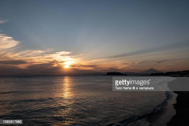 Sunset sunbeam on Mt. Fuji and Pacific Ocean in Japan