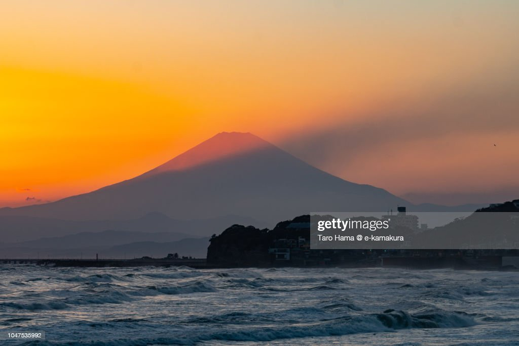 Sunset sunbeam on Mt. Fuji and Sagami Bay in Japan : ストックフォト