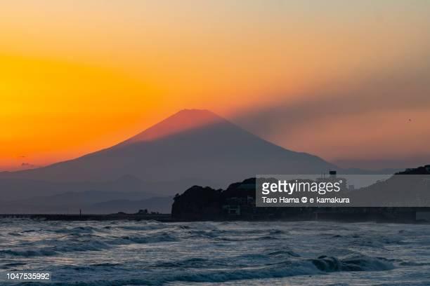 Sunset sunbeam on Mt. Fuji and Sagami Bay in Japan