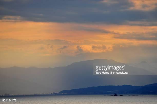 Sunset sunbeam on Mt. Tanzawa and Sagami Bay in Kanagawa prefecture in Japan