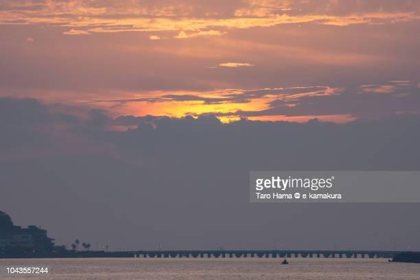 Sunset sunbeam on Sagami Bay and Enoshima Island in Fujisawa city in Japan