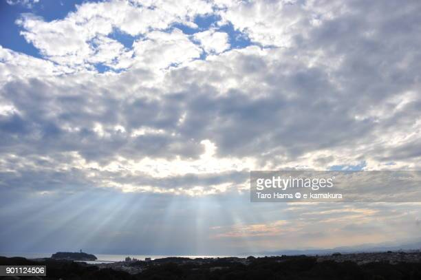 Sunset sunbeam on Sagami Bay and Enoshima Island in Fujisawa city in Kanagawa prefecture in Japan