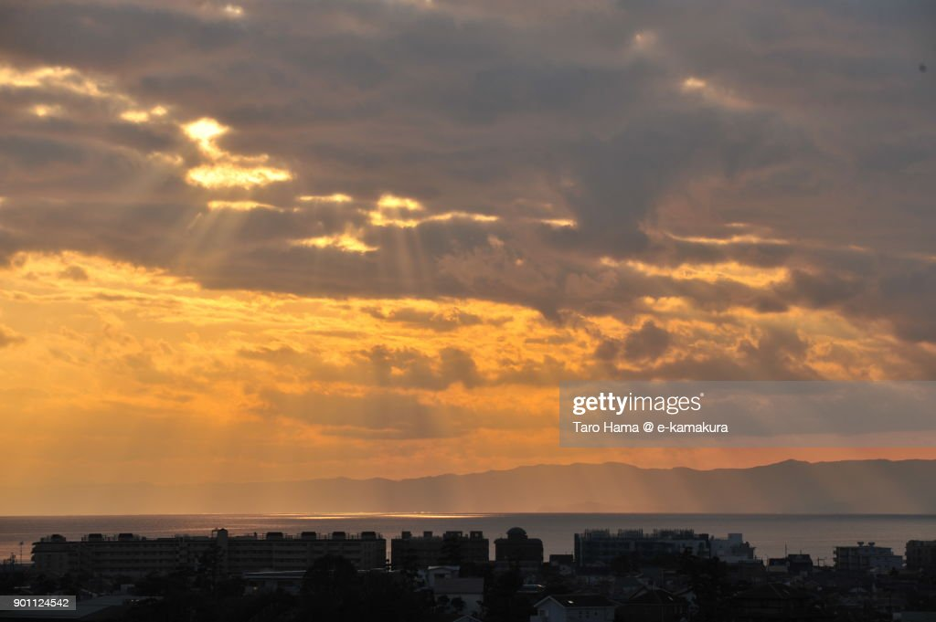 Sunset sunbeam on Sagami Bay in Kanagawa prefecture in Japan : ストックフォト
