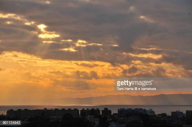 Sunset sunbeam on Sagami Bay in Kanagawa prefecture in Japan