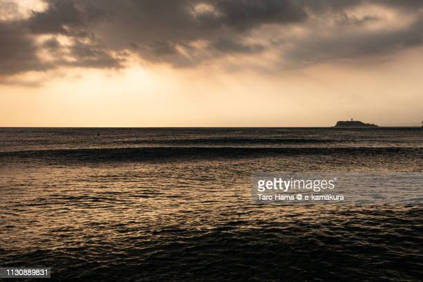 Sunset sunbeam on Sagami Bay, Pacific Ocean, Enoshima Island in Kanagawa prefecture in Japan