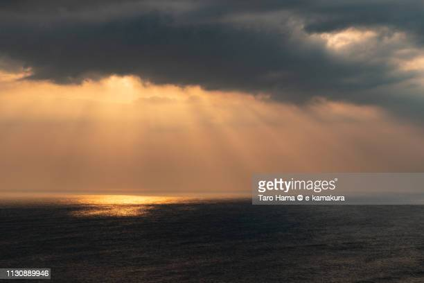 Sunset sunbeam on Sagami Bay, Pacific Ocean in Kanagawa prefecture in Japan
