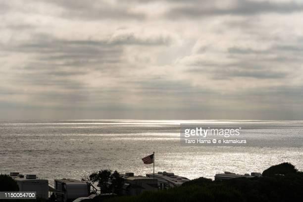 Sunset sunbeam on the beach in California