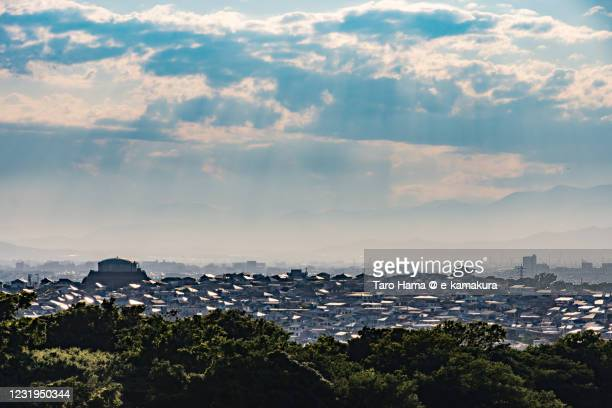 sunset sunbeam on the residential districts in kanagawa prefecture of japan - kanagawa prefecture stock pictures, royalty-free photos & images