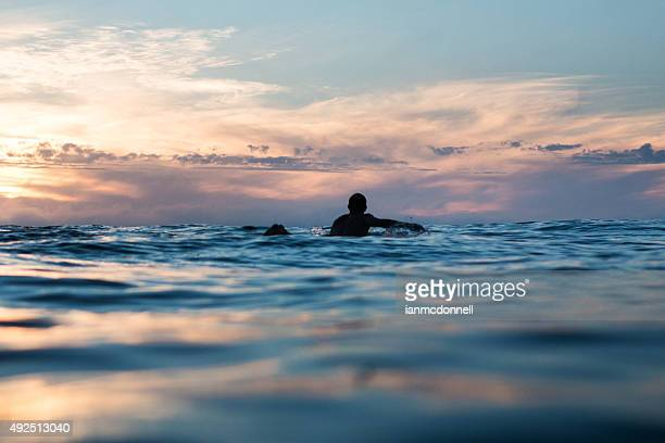 sunset surf - paddling stock pictures, royalty-free photos & images