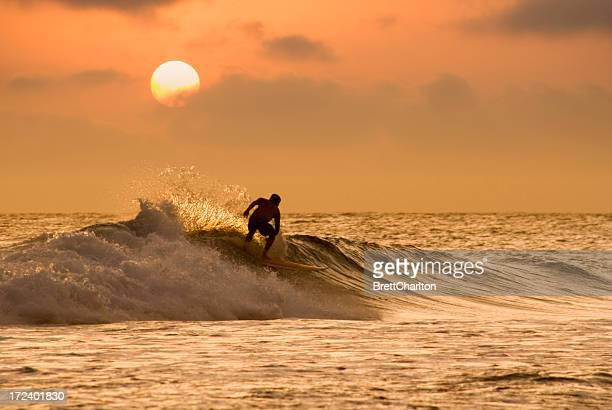 sunset surfer - newquay stock pictures, royalty-free photos & images