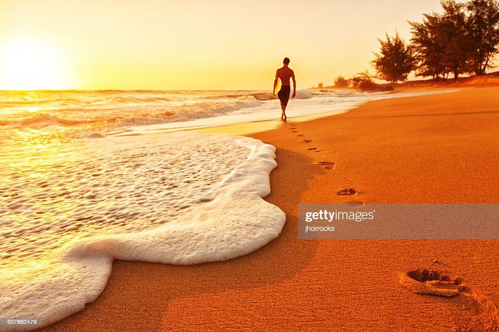 Sunset Surfer : Stock Photo