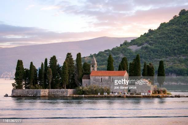 sunset, sveti juraj, saint george, perast, montenegro - kotor bay stock pictures, royalty-free photos & images