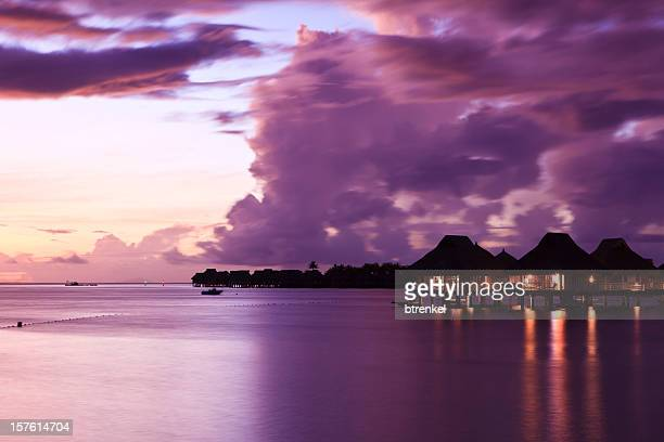 sunset tahiti - tahiti stock pictures, royalty-free photos & images