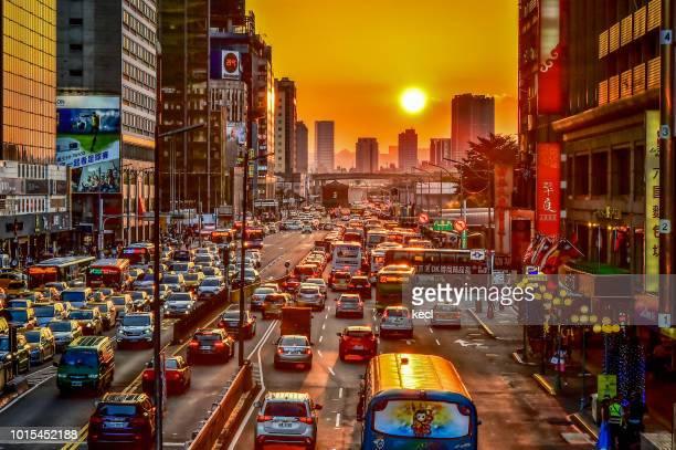 sunset @ taipei station - magic bus bildbanksfoton och bilder
