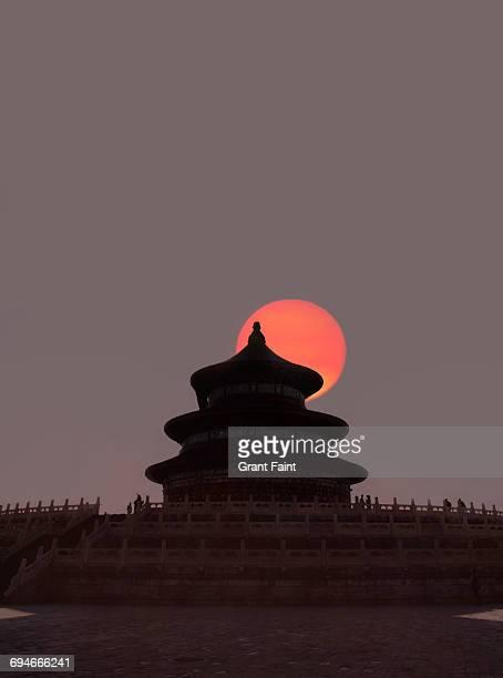 sunset temple. - pequim imagens e fotografias de stock