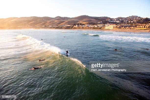 sunset time at pismo beach, california - ピスモビーチ ストックフォトと画像