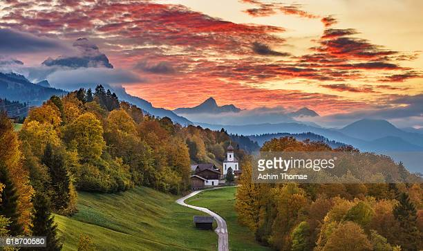 Sunset, Upper Bavaria, Germany, Europe