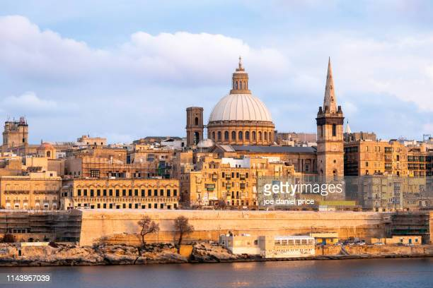 sunset, valletta, malta - valletta stock pictures, royalty-free photos & images